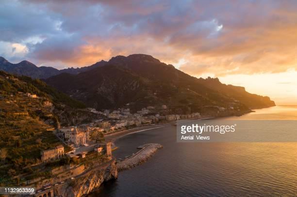 amalfi coast at sunrise - amalfi coast stock photos and pictures