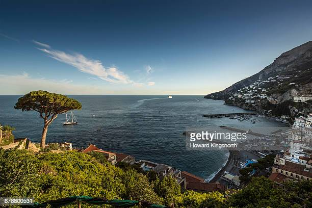 Amalfi town and seascape from a high vantage point
