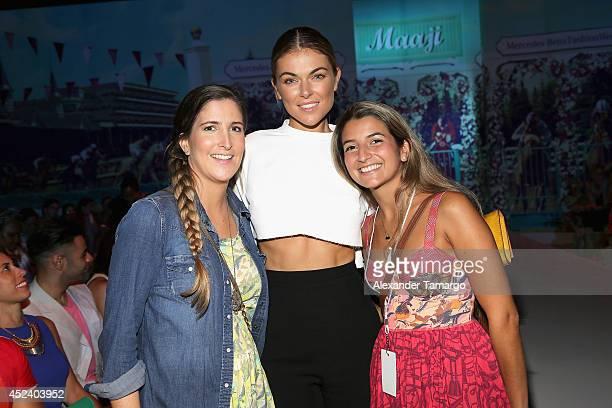 Amalia Sierra Serinda Swan and Cristina Mesa attend the Maaji show during MercedesBenz Fashion Week Swim 2015 at The Raleigh on July 19 2014 in Miami...