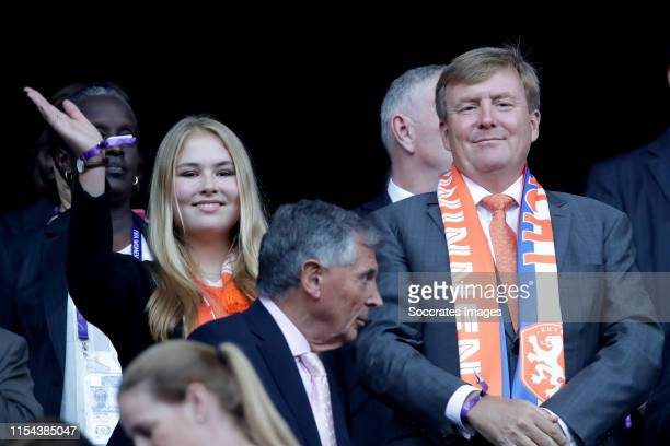 Amalia van Oranje Willem Alexander van Oranje during the World Cup Women match between USA v Holland at the Stade de Lyon on July 7 2019 in Lyon...