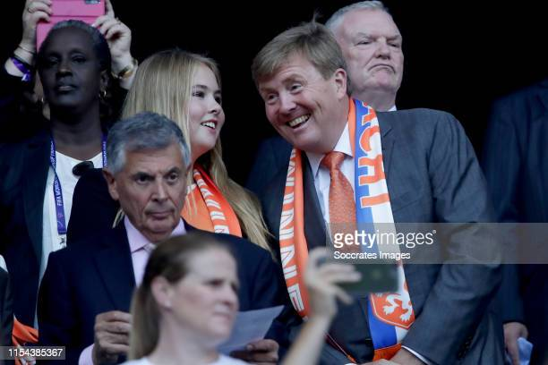 Amalia van Oranje, Willem Alexander van Oranje during the World Cup Women match between USA v Holland at the Stade de Lyon on July 7, 2019 in Lyon...