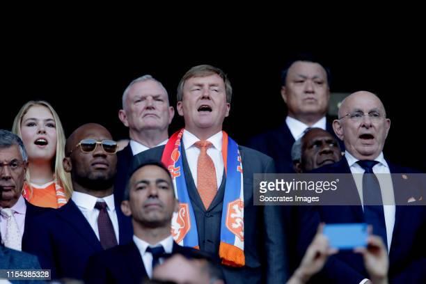 Amalia van Oranje, Willem Alexander van Oranje, Michael van Praag during the World Cup Women match between USA v Holland at the Stade de Lyon on July...