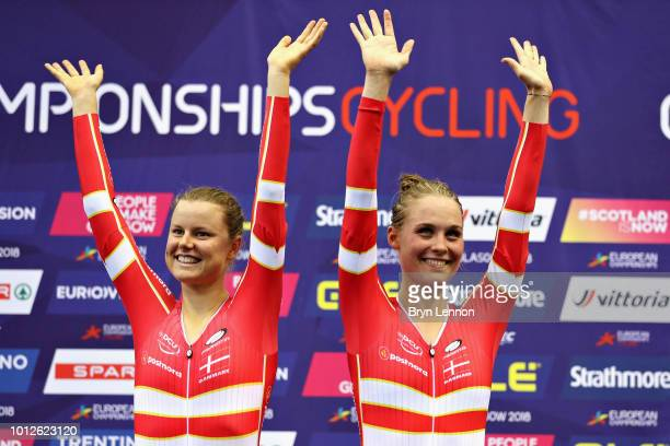 Amalie Dideriksen and Julie Leth of Denmark celebrate winning gold in the Women's Madison during the track cycling on Day Six of the European...