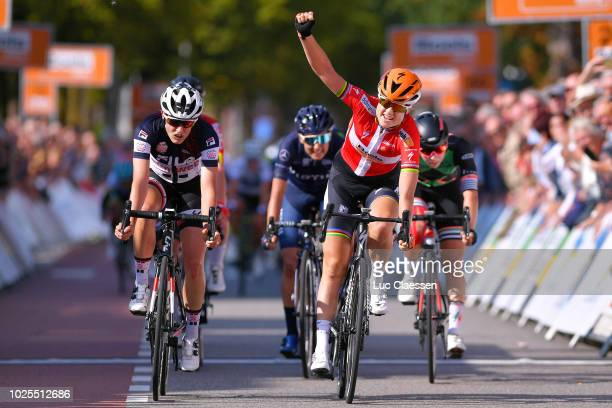 Amalie Dideriksen of Denmark and Team Boels Dolmans Cycling Team / Lucinda Brand of Netherlands and Team Sunweb Blue Sprint Jersey / during the 21st...