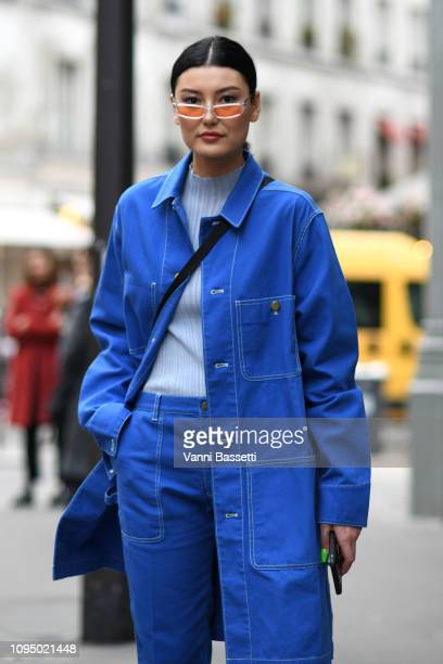 Amalie Gassmann attends the Acne Studio Menswear Fall/Winter 20192020 show as part of Paris Fashion Week on January 16 2019 in Paris France