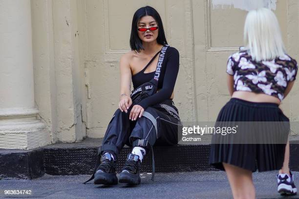 Amalie Gassmann is seen in Soho on May 29 2018 in New York City