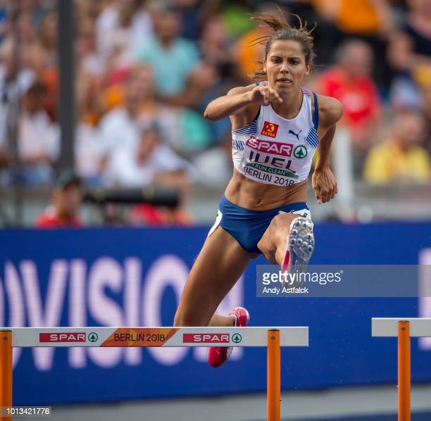 Amalie Hammild Iuel from Norway during the Women's 400m Hurdles SemiFinals on Day 2 of the European Athletics Championships at Olympiastadion on...