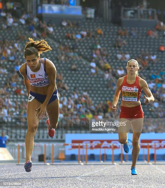 Amalie Hammild Iuel of Norway competes during the women's 400m semi final hurdle race within the third day of the 2018 European Athletics...