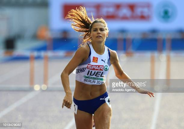 Amalie Hammild Iuel of Norway competes in the women's 400m semi final hurdle race within the third day of the 2018 European Athletics Championships...