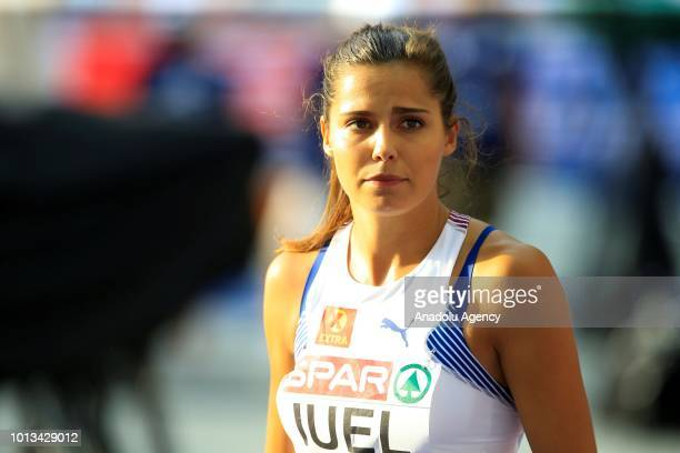 Amalie Hammild Iuel of Norway gestures after competing in the women's 400m semi final hurdle race within the third day of the 2018 European Athletics...