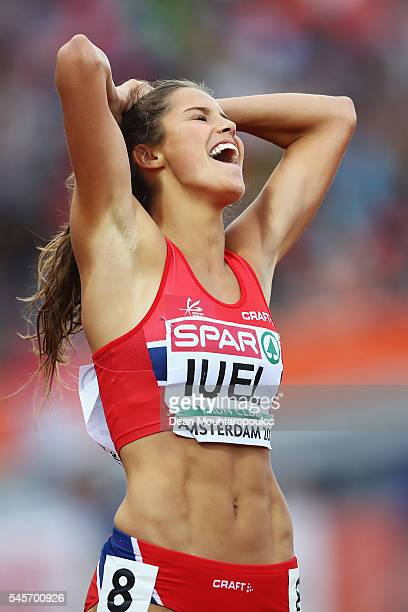 Amalie Hammild Iuel of Norway reacts during the womens 400m hurdles on day four of The 23rd European Athletics Championships at Olympic Stadium on...