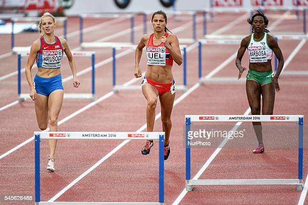 Amalie Iuel leads the 1st heat of the qualification round during the 400m hurdles at the 23rd European Athletic Championships held in Amsterdam on...