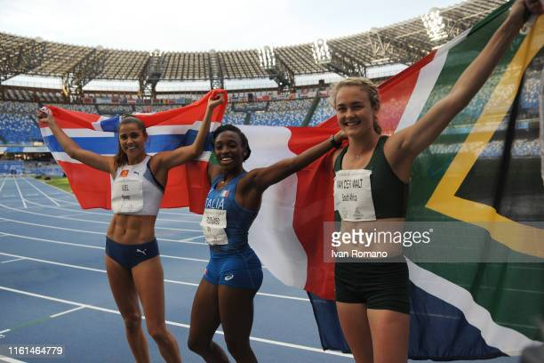 Amalie Iuel of Norway, Ayomide Folorunso of Italy and Zaney Van Der Walt of Sout Africa during Women's 400 m Hurdles Final during day three of the...