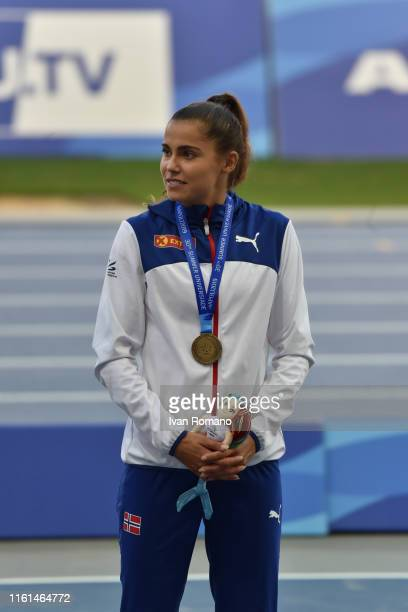 Amalie Iuel of Norway poses with her bronze medal at Women's 400 m Hurdles Final podium during day three of the 2019 Summer Universiade on July 10,...