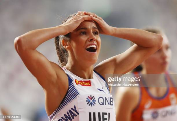 Amalie Iuel of Norway reacts after competing in the Women's 400 Metres Hurdles heats during day five of 17th IAAF World Athletics Championships Doha...