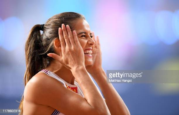 Amalie Iuel of Norway reacts in the Women's 400 metres hurdles semi finals during day six of 17th IAAF World Athletics Championships Doha 2019 at...