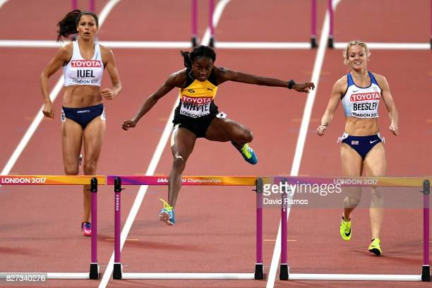 Amalie Iuel of Norway, Rhonda Whyte of Jamaica and Meghan Beesley of Great Britain compete in the Women's 400 metres hurdles heats during day four of...
