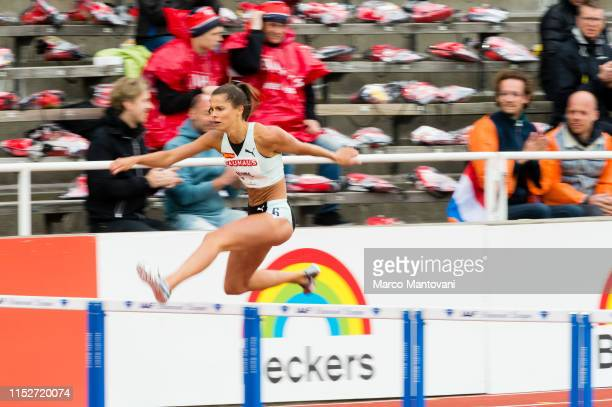 Amalie Iuel of Sweden competes in women's 400m Hurdles during Stockholm - 2019 Diamond League at Stockholms Olympiastadion on May 30, 2019 in...