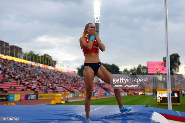 Amalie Svabikova of The Czech Republic celebrates winning gold in the final of the women's pole vault on day three of The IAAF World U20...
