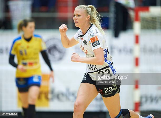 Amalie Wichmann of Team Tvis Holstebro celebrate after goal during the Danish Primo Tours Dameligaen match between Team Tvis Holstebro and Nykobing...