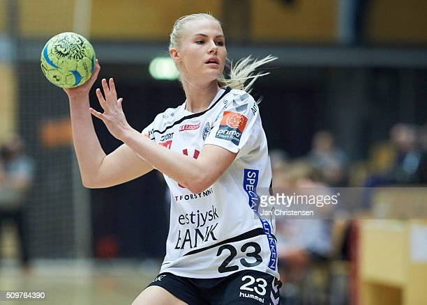 Amalie Wichmann of Team Tvis Holstebro in action during the Danish Primo Tours Dameligaen match between Copenhagen Handball and Team Tvis Holstebro...