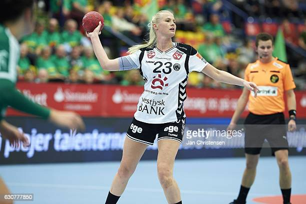 Amalie Wichmann of TTH Holstebro in action during the Santander Final4 3 4 place match between TTH Holstebro and Viborg HK in JYSK arena on December...