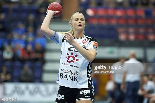 Amalie Wichmann of TTH Holstebro throws the ball during the Santander Final4 3 4 place match between TTH Holstebro and Viborg HK in JYSK arena on...