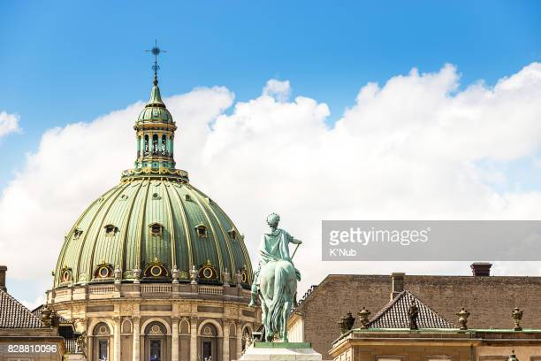 Amalienborg and Frederik's Church with smooth cloud in summer at