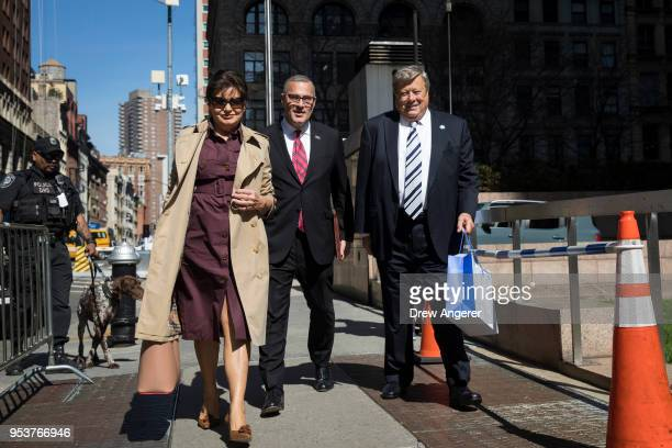 Amalija and Viktor Knavs, parents of U.S. First Lady Melania Trump, arrive with their lawyer Michael Wildes at U.S. Citizenship and Immigration...