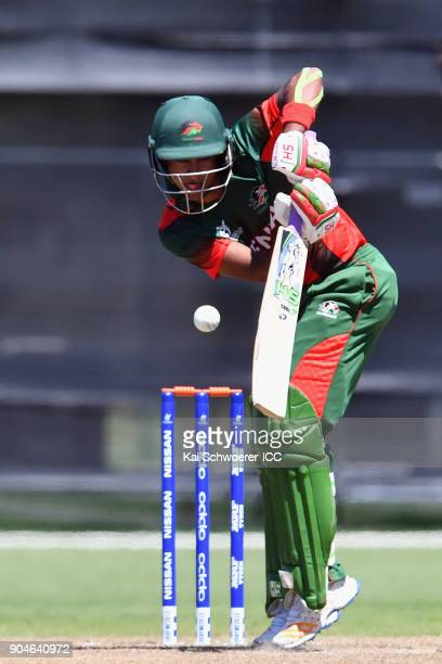 Aman Gandhi of Kenya bats during the ICC U19 Cricket World Cup match between South Africa and Kenya at Lincoln Green on January 14 2018 in...