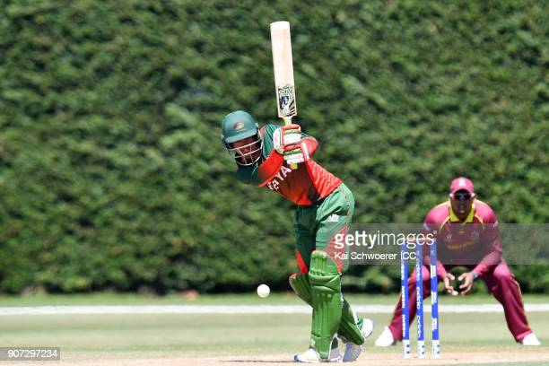 Aman Gandhi of Kenya bats during the ICC U19 Cricket World Cup match between the West Indies and Kenya at Lincoln Oval on January 20 2018 in...