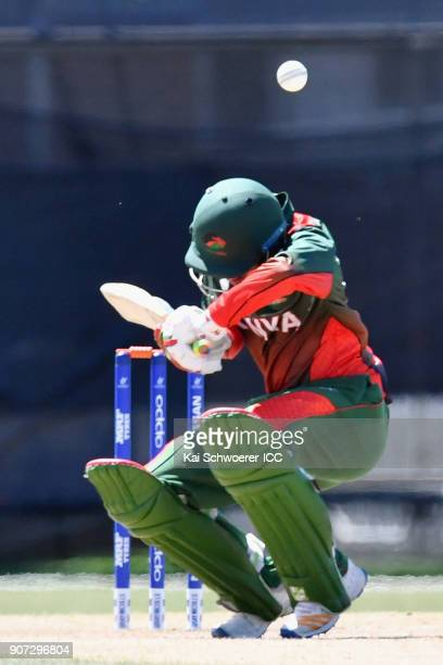 Aman Gandhi of Kenya ducks under a bouncer during the ICC U19 Cricket World Cup match between the West Indies and Kenya at Lincoln Oval on January 20...