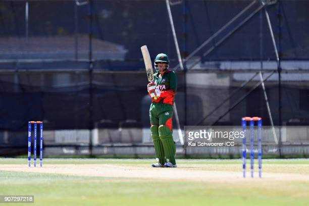 Aman Gandhi of Kenya looks on during the ICC U19 Cricket World Cup match between the West Indies and Kenya at Lincoln Oval on January 20 2018 in...