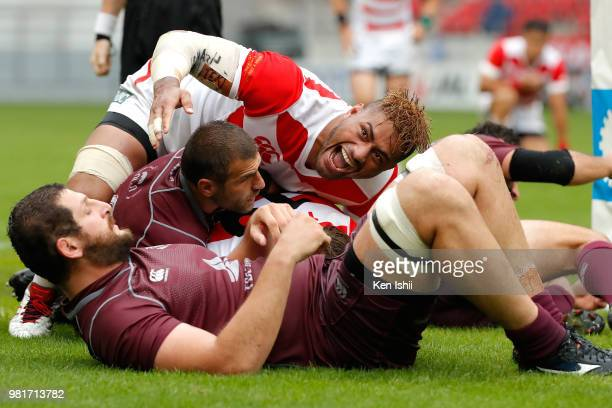 Amanaki Lelei Mafi of Japan celebrates his side's frist try during the rugby international match between Japan and Georgia at Toyota Stadium on June...