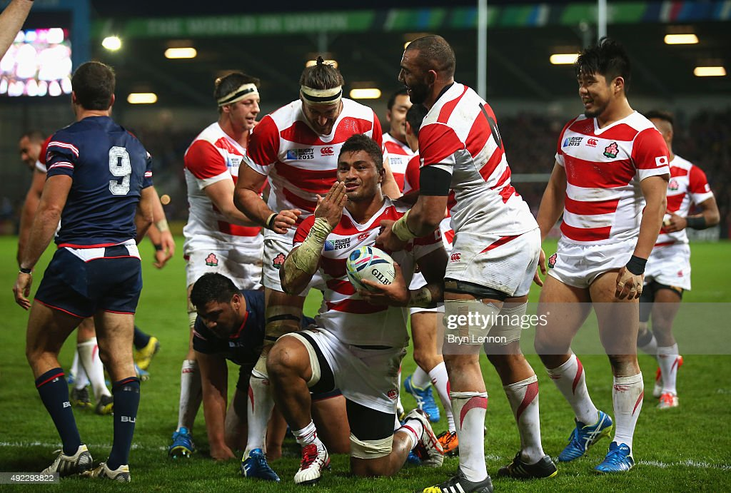 Amanaki Mafi of Japan celebrates scoring their third try during the 2015 Rugby World Cup Pool B match between USA and Japan at Kingsholm Stadium on October 11, 2015 in Gloucester, United Kingdom.