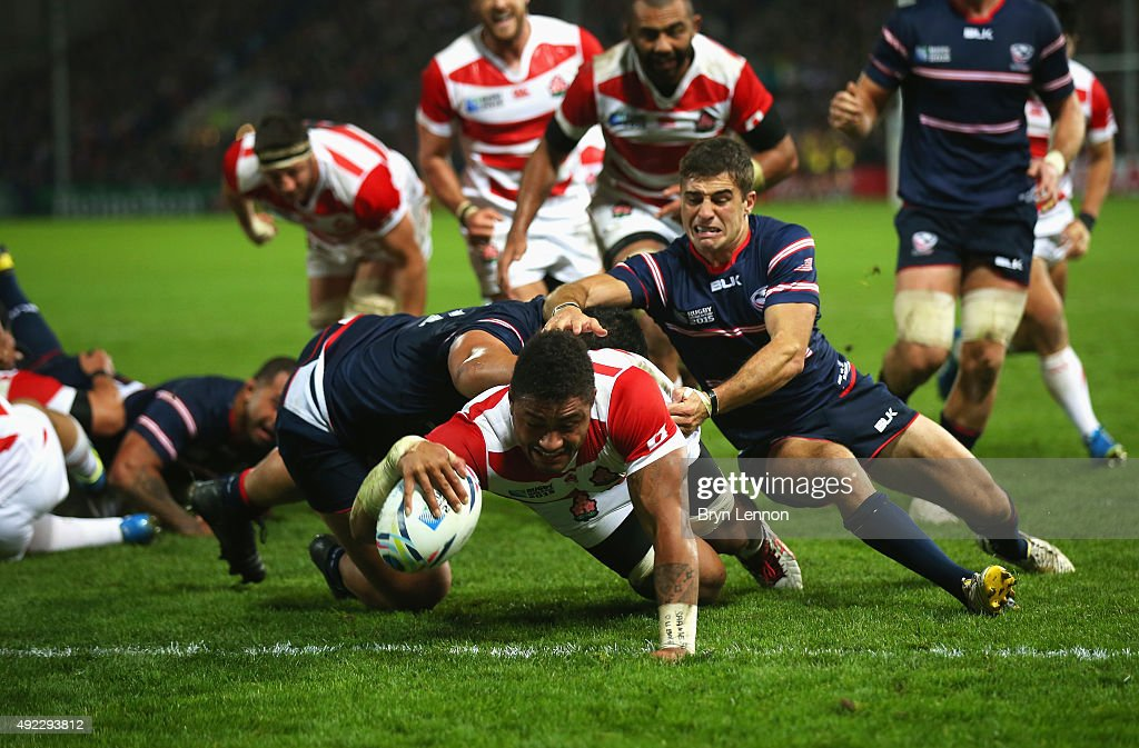 Amanaki Mafi of Japan goes over to score their third try during the 2015 Rugby World Cup Pool B match between USA and Japan at Kingsholm Stadium on October 11, 2015 in Gloucester, United Kingdom.