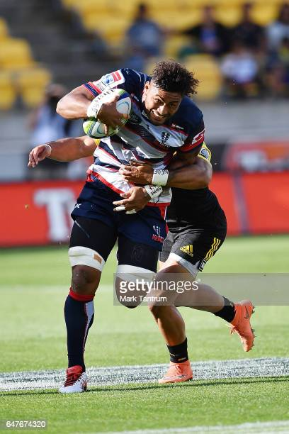 Amanaki Mafi of the Melbourne Rebels during the round two Super Rugby match between the Hurricanes and the Rebels at Westpac Stadium on March 4 2017...