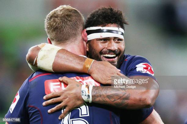 Amanaki Mafi of the Rebels celebrates a try during the round six Super Rugby match between the Melbourne Rebels and the Sharks at AAMI Park on March...