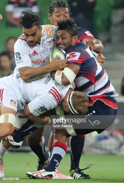 Amanaki Mafi of the Rebels is tackled during the round four Super Rugby match between the Rebels and the Chiefs at AAMI Park on March 17 2017 in...