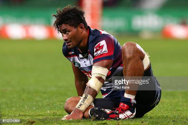 Amanaki Mafi of the Rebels looks on after a tackle during the round 16 Super Rugby match between the Force and the Rebels at nib Stadium on July 7...