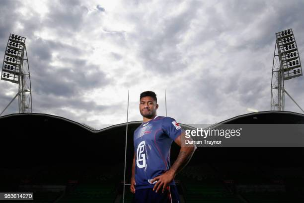 Amanaki Mafi of the Rebels poses for a photo at AAMI Park on May 2 2018 in Melbourne Australia