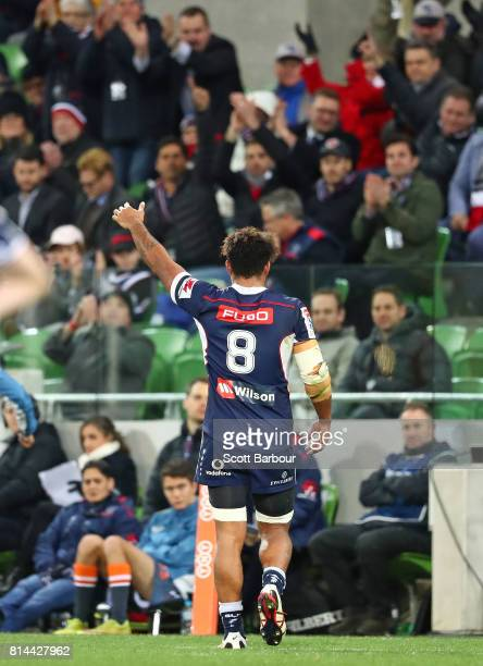 Amanaki Mafi of the Rebels receives applause from the crowd as he leaves the field after being substituted during the round 17 Super Rugby match...