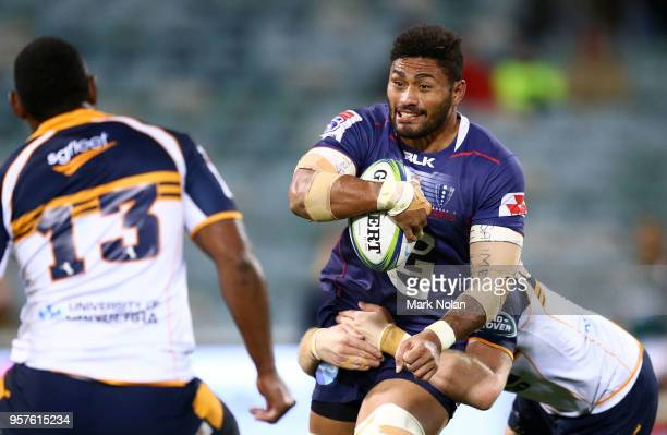 Amanaki Mafi of the Rebels runs the ball during the round 12 Super Rugby match between the Brumbies and the Rebels at GIO Stadium on May 12 2018 in...