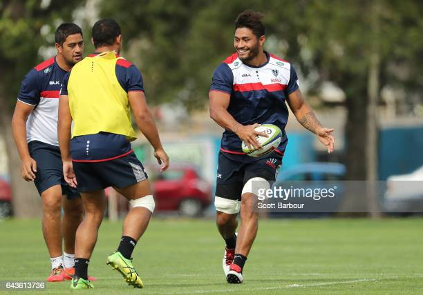 Amanaki Mafi of the Rebels runs with the ball during a Melbourne Rebels Super Rugby training session at Gosch's Paddock on February 22 2017 in...