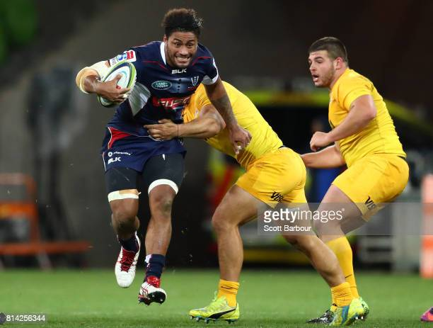 Amanaki Mafi of the Rebels runs with the ball during the round 17 Super Rugby match between the Melbourne Rebels and the Jaguares at AAMI Park on...