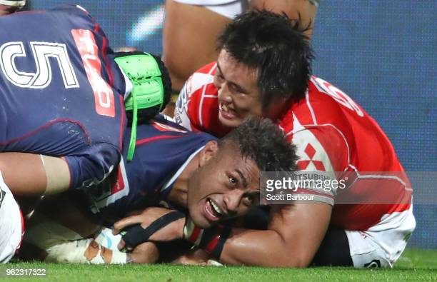Amanaki Mafi of the Rebels scores a try during the round 15 Super Rugby match between the Rebels and the Sunwolves at AAMI Park on May 25 2018 in...