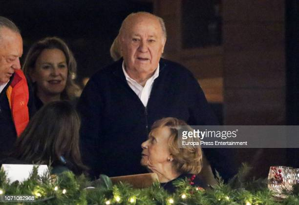 Amancio Ortega and Flora Perez attend CSI Casas Novas Horse Jumping Competition on December 7 2018 in A Coruna Spain