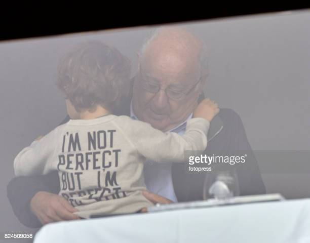 Amancio Ortega and his grandson attend during CSI Casas Novas Horse Jumping Competition on July 30 2017 in A Coruna Spain
