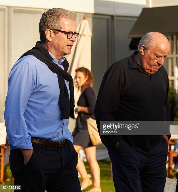 Amancio Ortega and Pablo Isla attend during CSI Casas Novas Horse Jumping Competition on July 29 2017 in A Coruna Spain