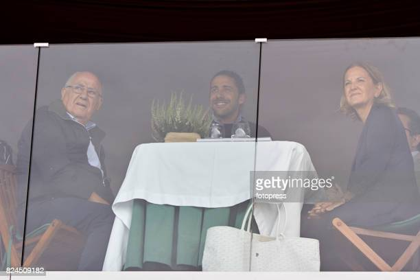Amancio Ortega Carlos Torretta and Flora Perez attend during CSI Casas Novas Horse Jumping Competition on July 30 2017 in A Coruna Spain